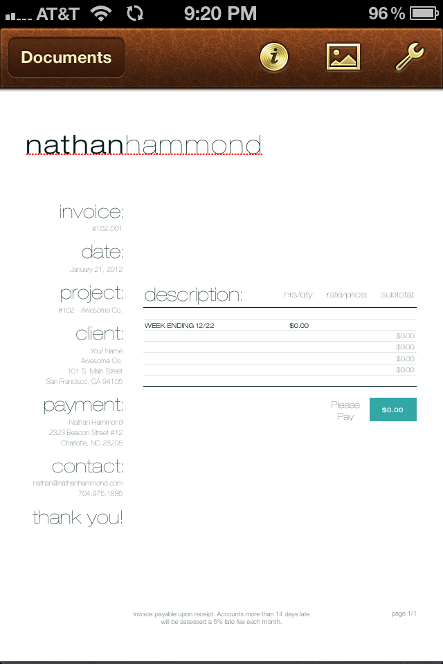 Invoice with user-installed fonts.